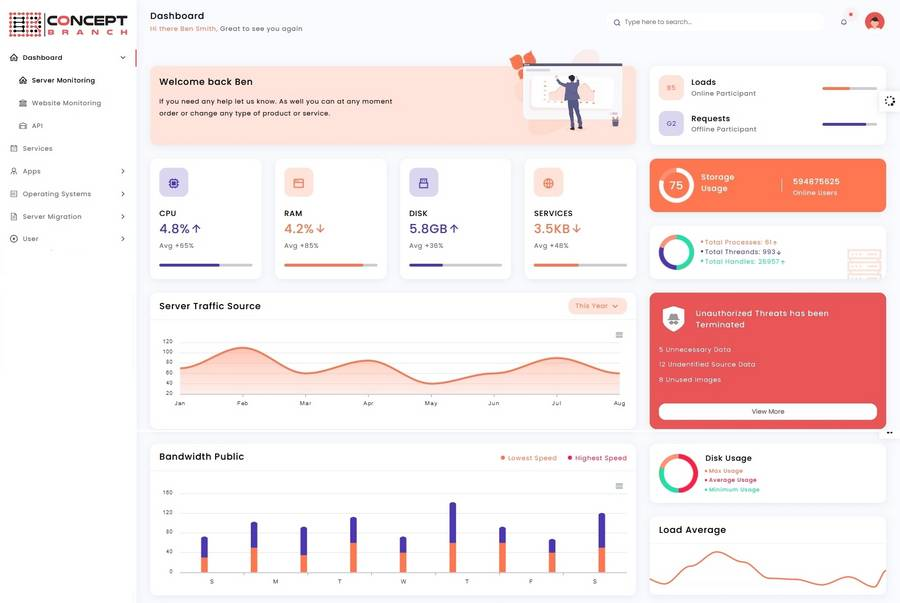 Concept Branch - User-friendly Dashboard for server & service administration